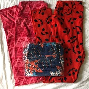 LOT OF THREE Brand New LuLaRoe Holiday Leggings